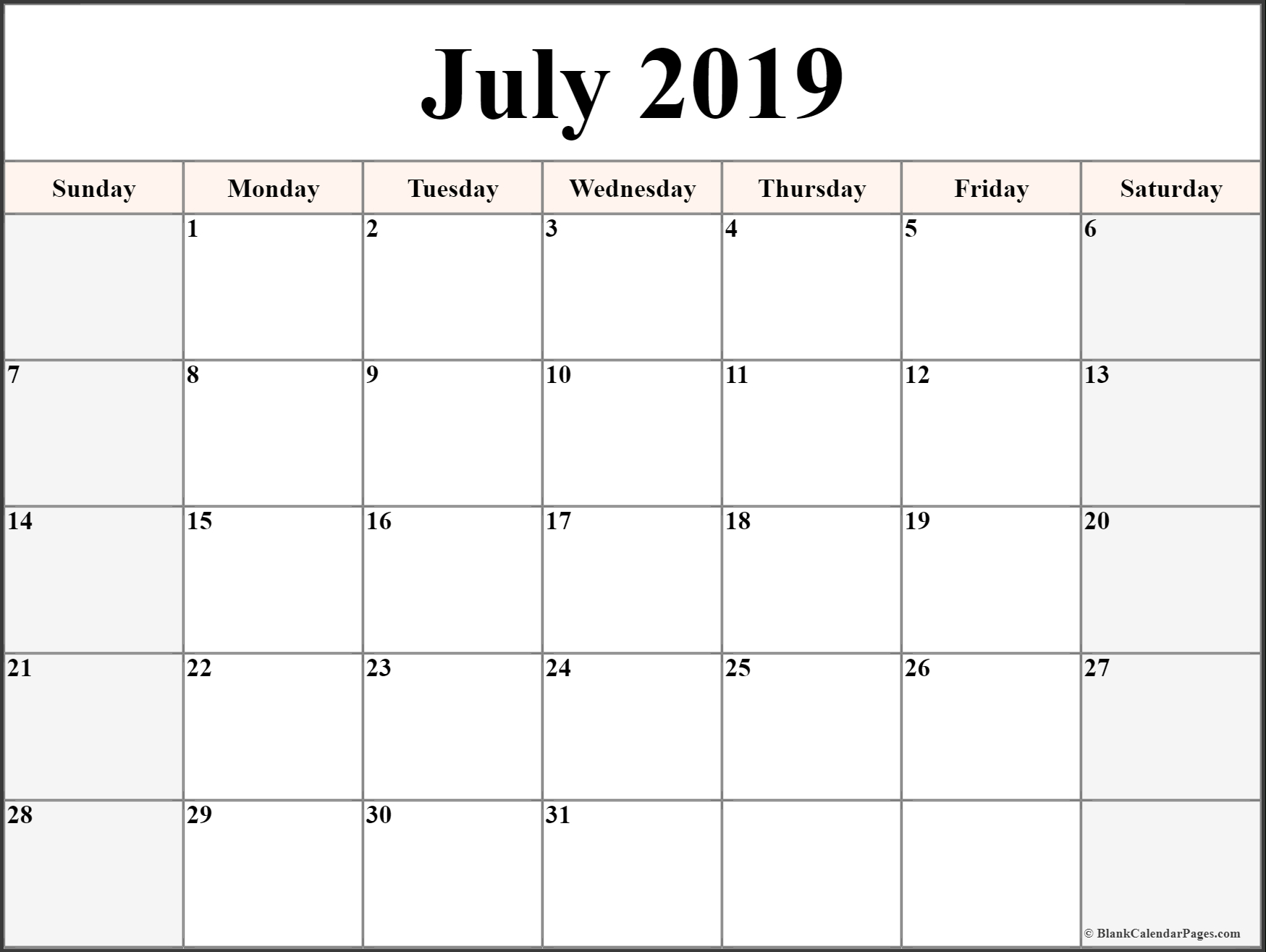 July 2019 Printable Calendar Blank Templates - Calendar Hour