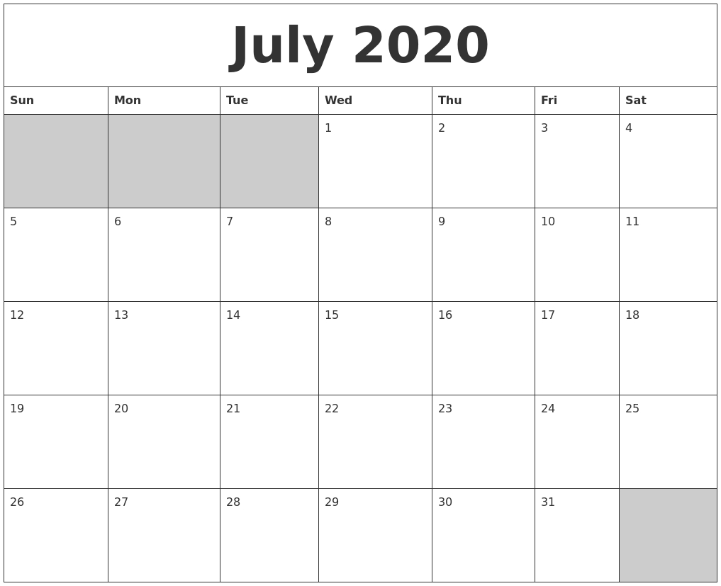 July 2020 Blank Printable Calendar