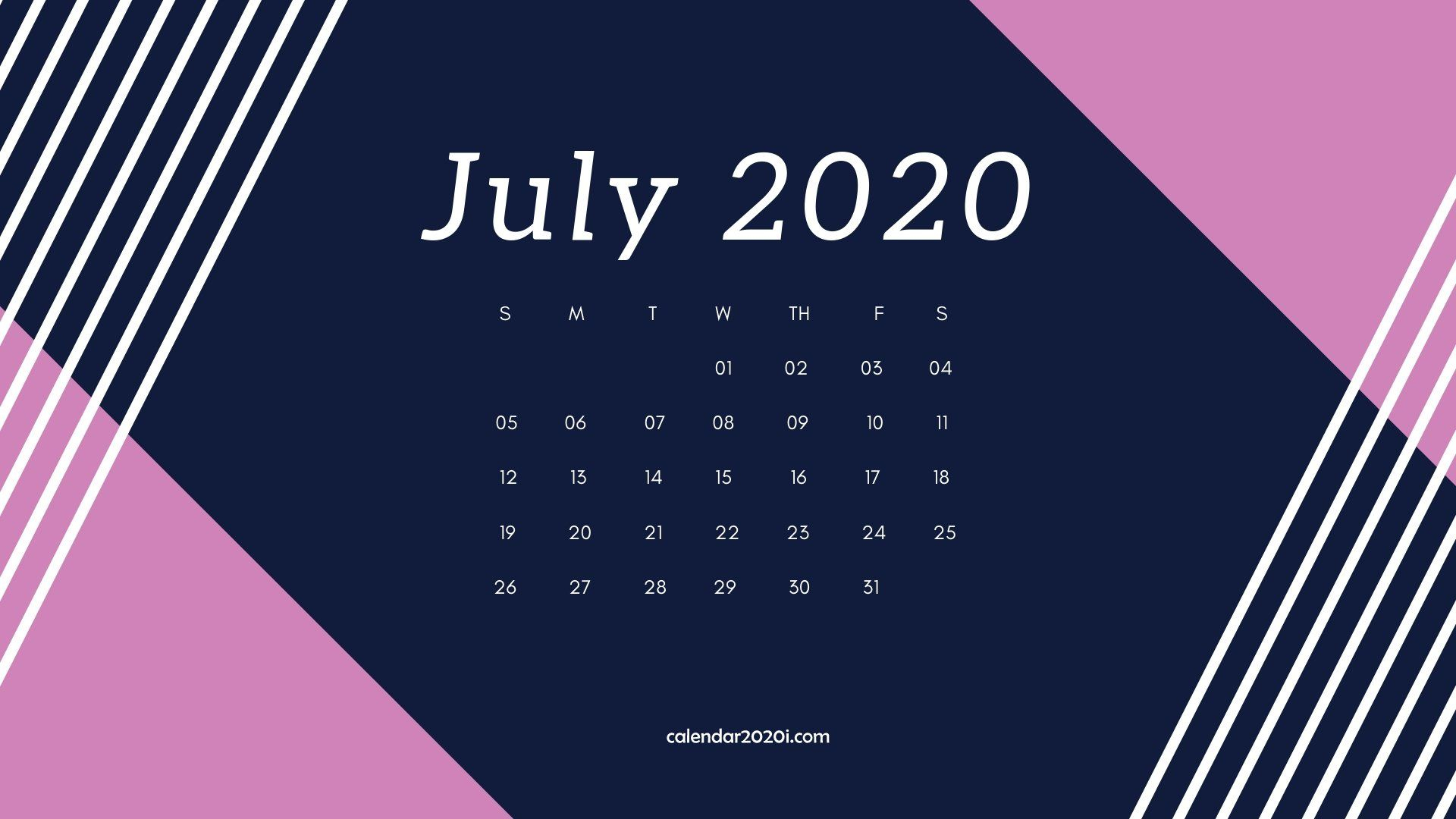 July 2020 Calendar Desktop Wallpaper | July Calendar