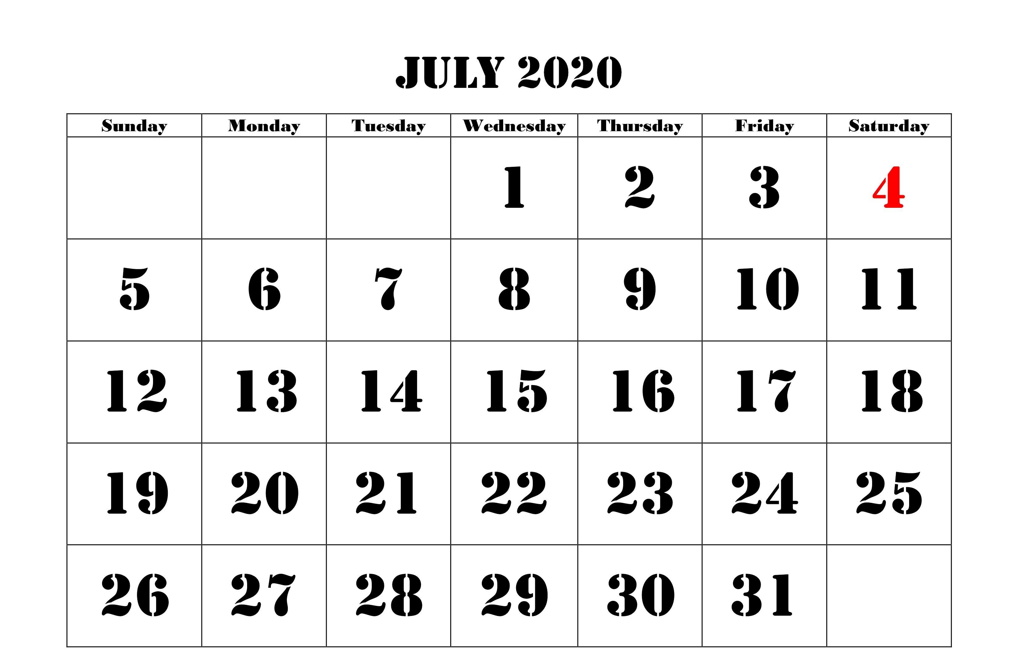 July 2020 Calendar Excel | July Calendar, Calendar 2020