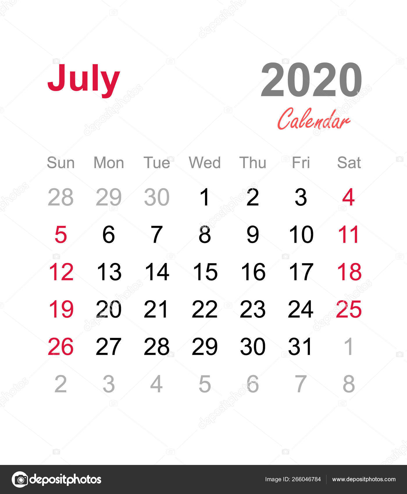 July 2020 Calendar Monthly Calendar Template 2020 Monthly