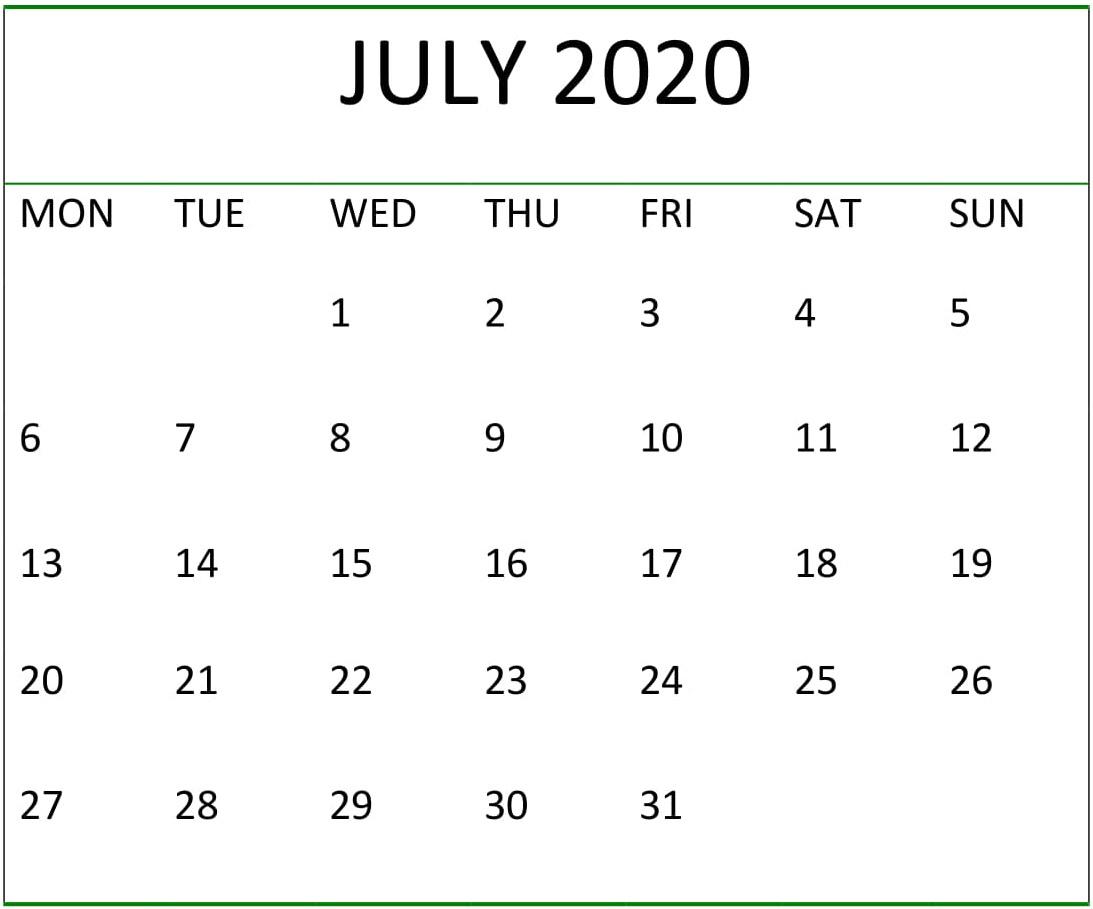 July 2020 Calendar Pdf Download - Latest Printable Calendar