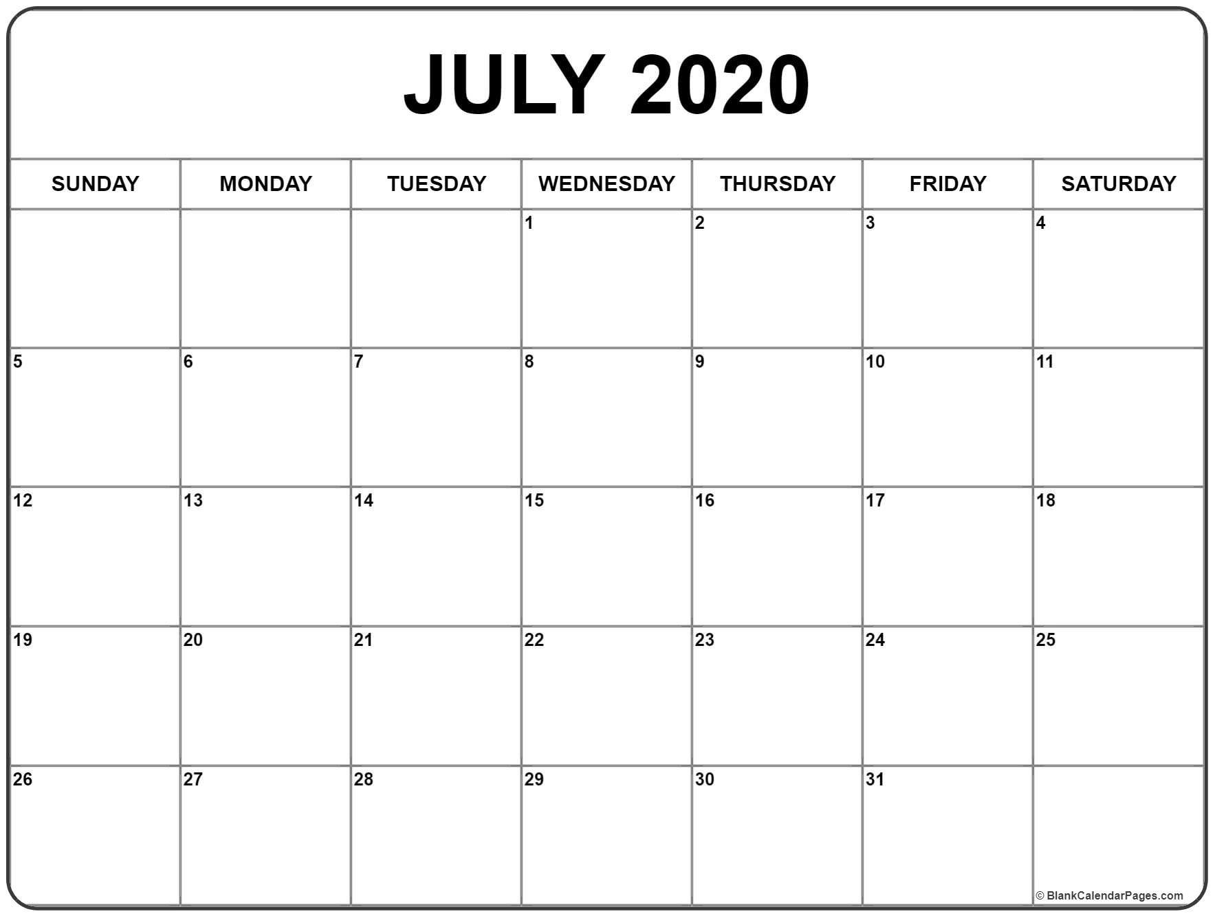 July 2020 Calendar | Printable Blank Calendar, January