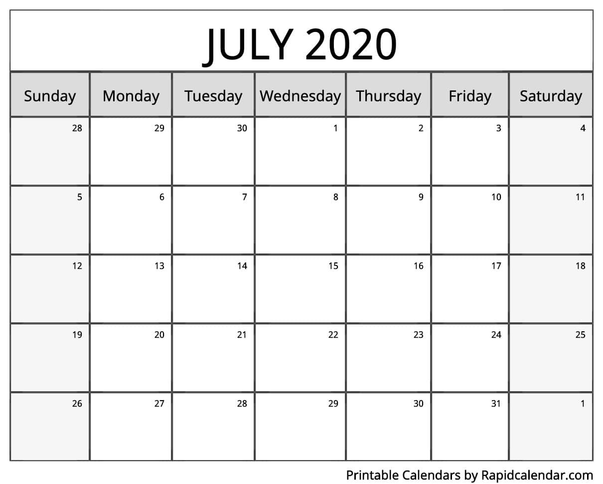 July 2020 Calendar Printable - Rapid Calendar