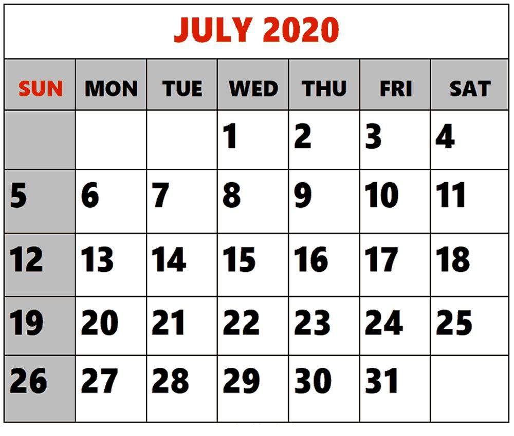 July 2020 Calendar Printable With Holidays | Printable Calendar