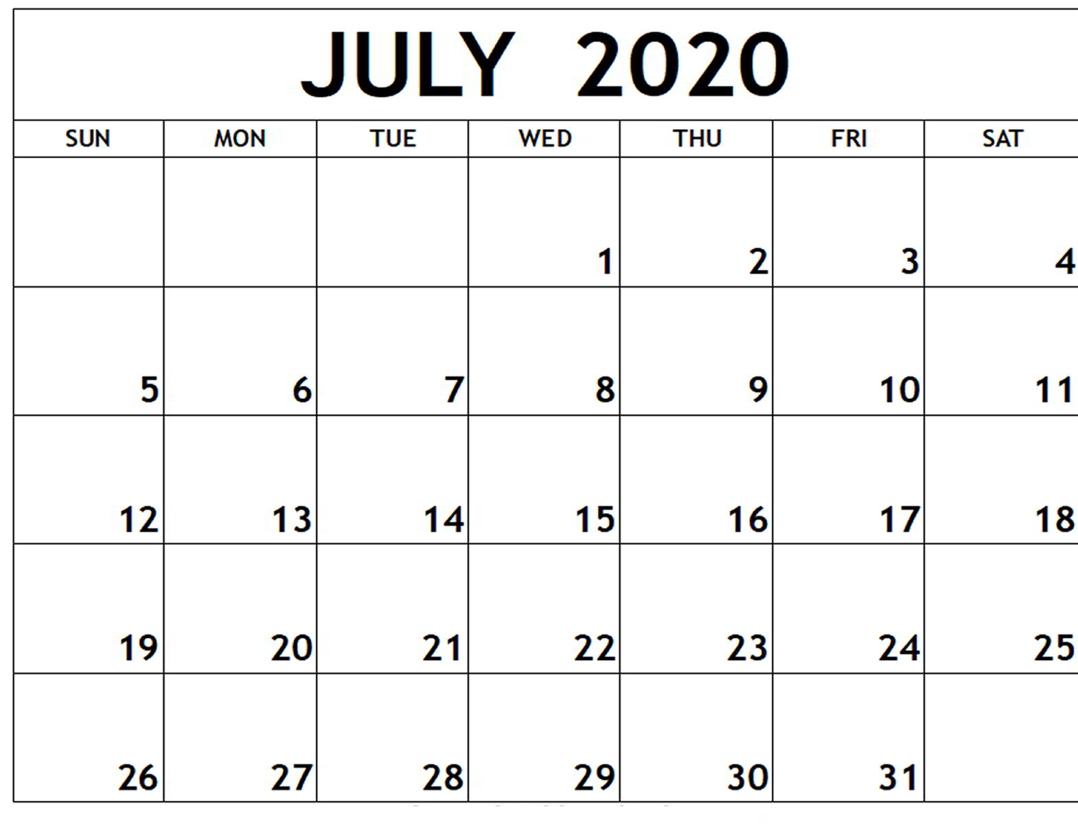 July 2020 Calendar Printable With Notes | 12 Month Printable