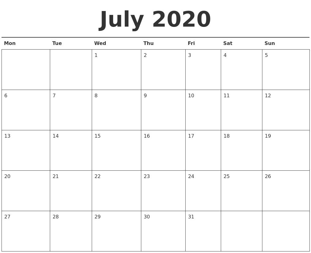 July 2020 Calendar Printable