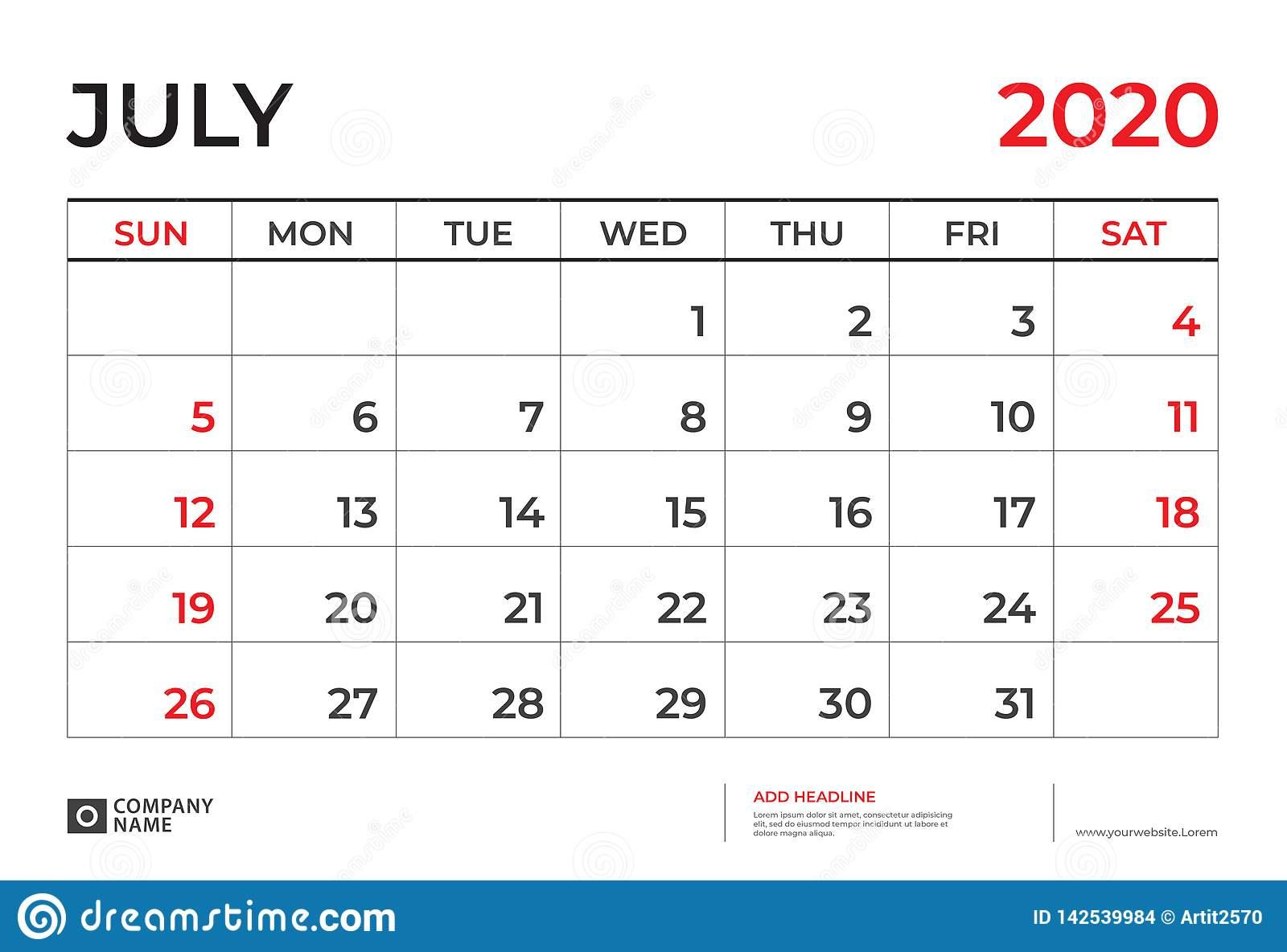 July 2020 Calendar Template, Desk Calendar Layout Size 9.5 X