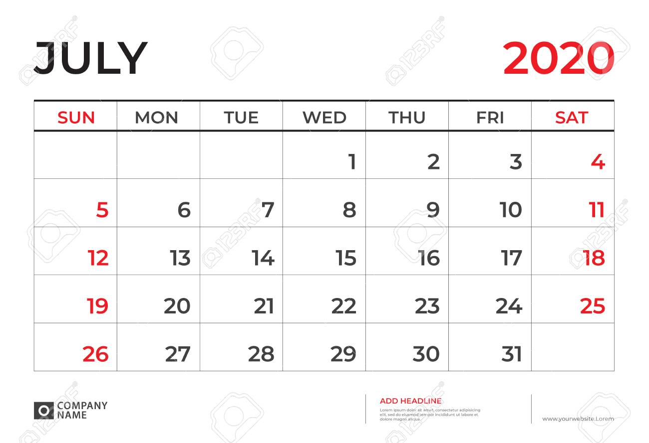 July 2020 Calendar Template, Desk Calendar Layout Size 9.5 X..
