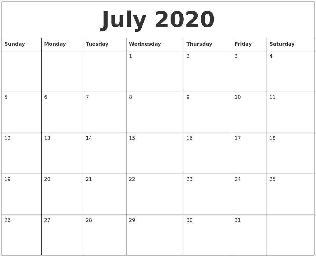 July 2020 Calendar With Holidays Uk | Calendar June, July