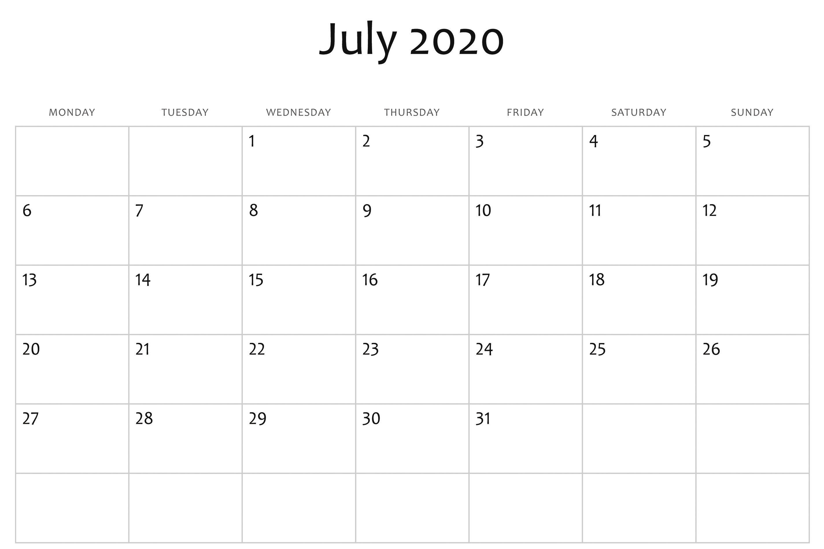 July 2020 Calendar Word | July Calendar, Free Printable