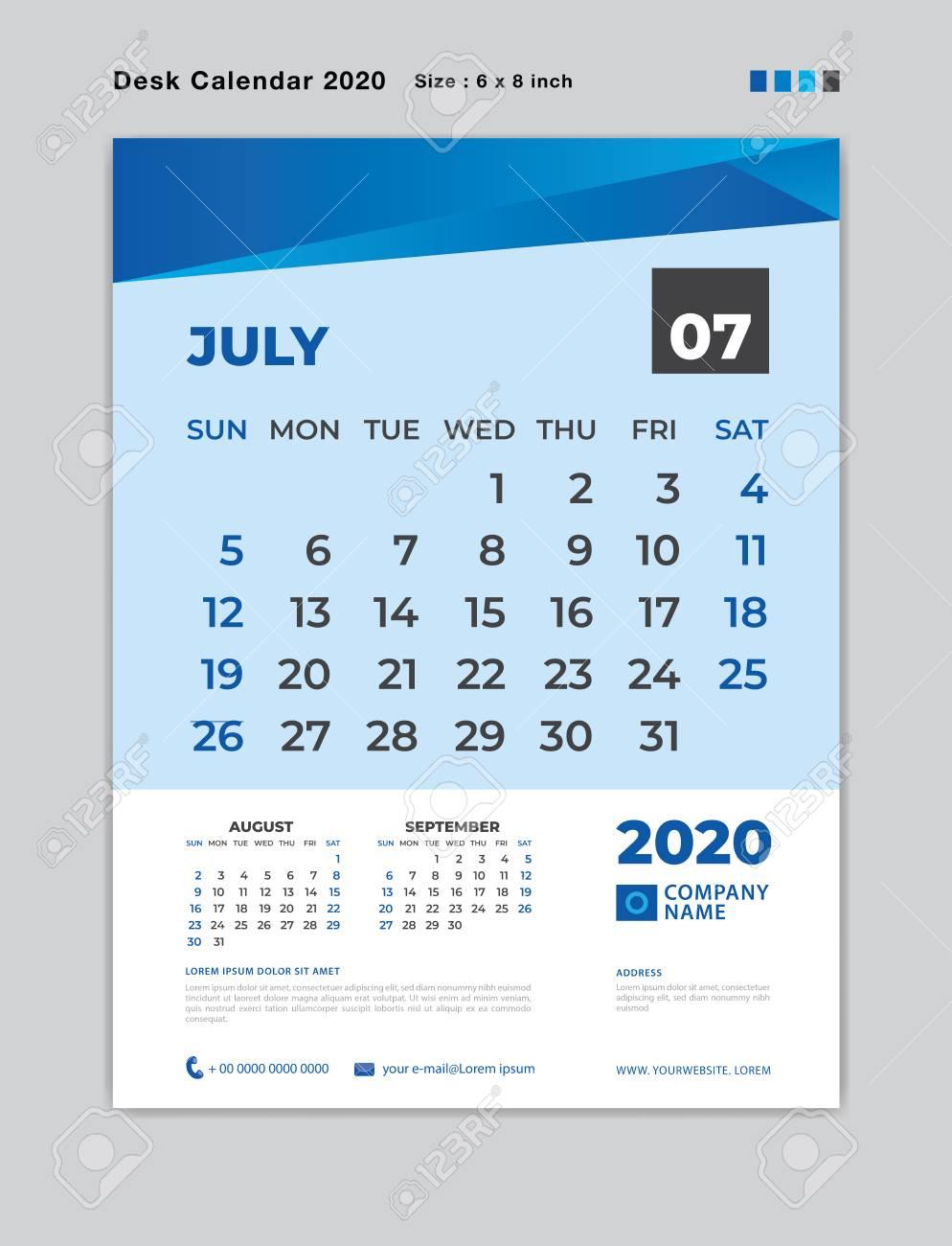 July 2020 Month Template, Desk Calendar For 2020 Year, Week Start..