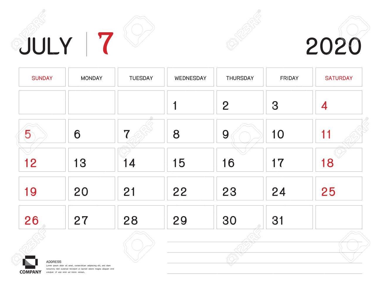 July 2020 Year Template, Calendar 2020 Vector, Desk Calendar..