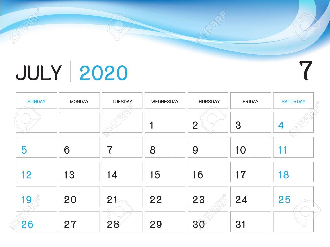 July 2020 Year Template, Calendar 2020 Vector, Desk Calendar..