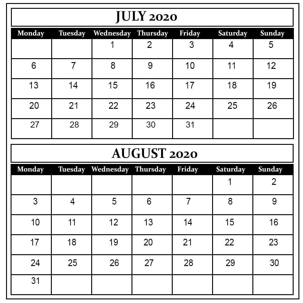 July And August 2020 Free Printable Calendar