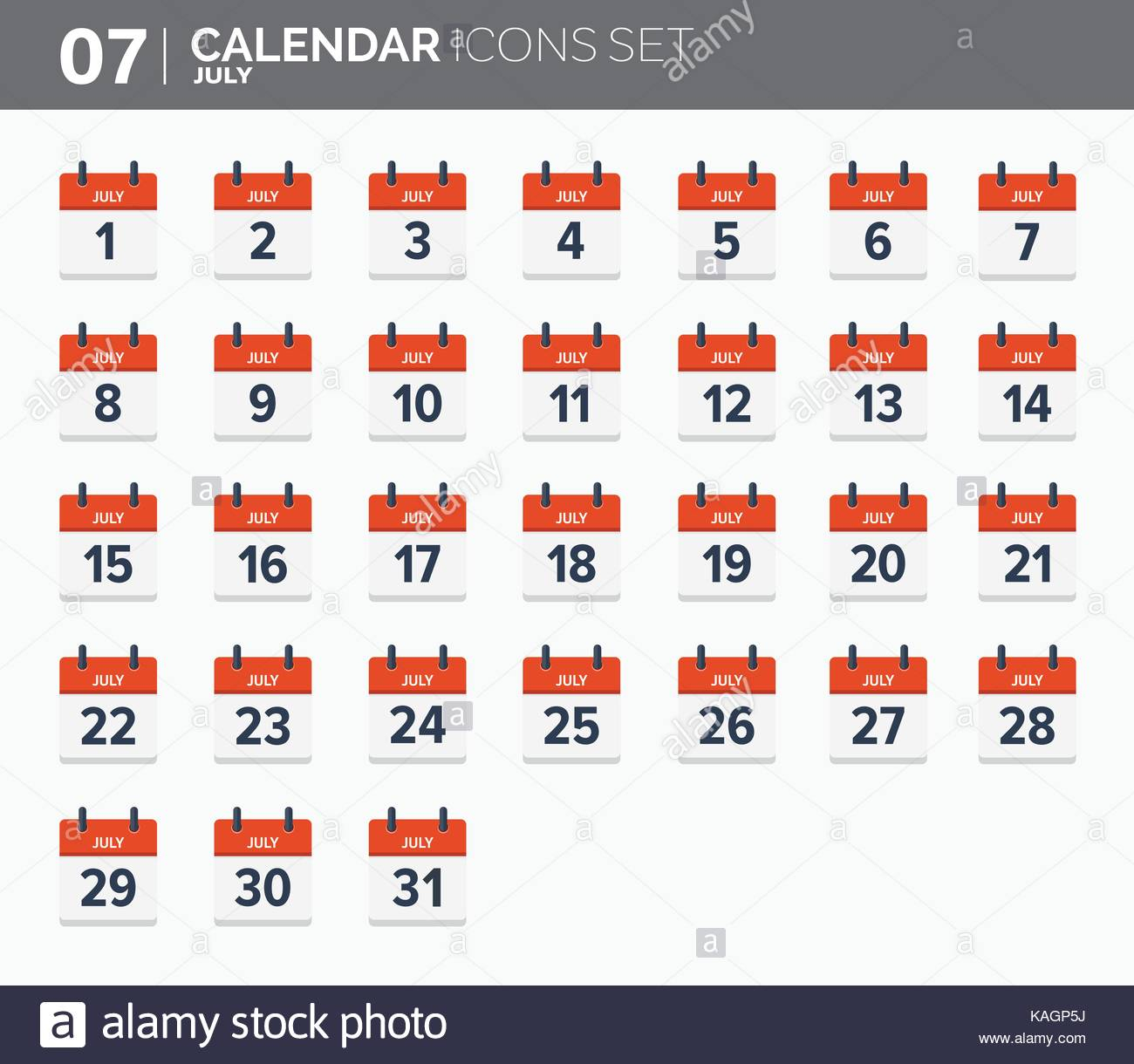 July. Calendar Icons Set. Date And Time. 2018 Year Stock