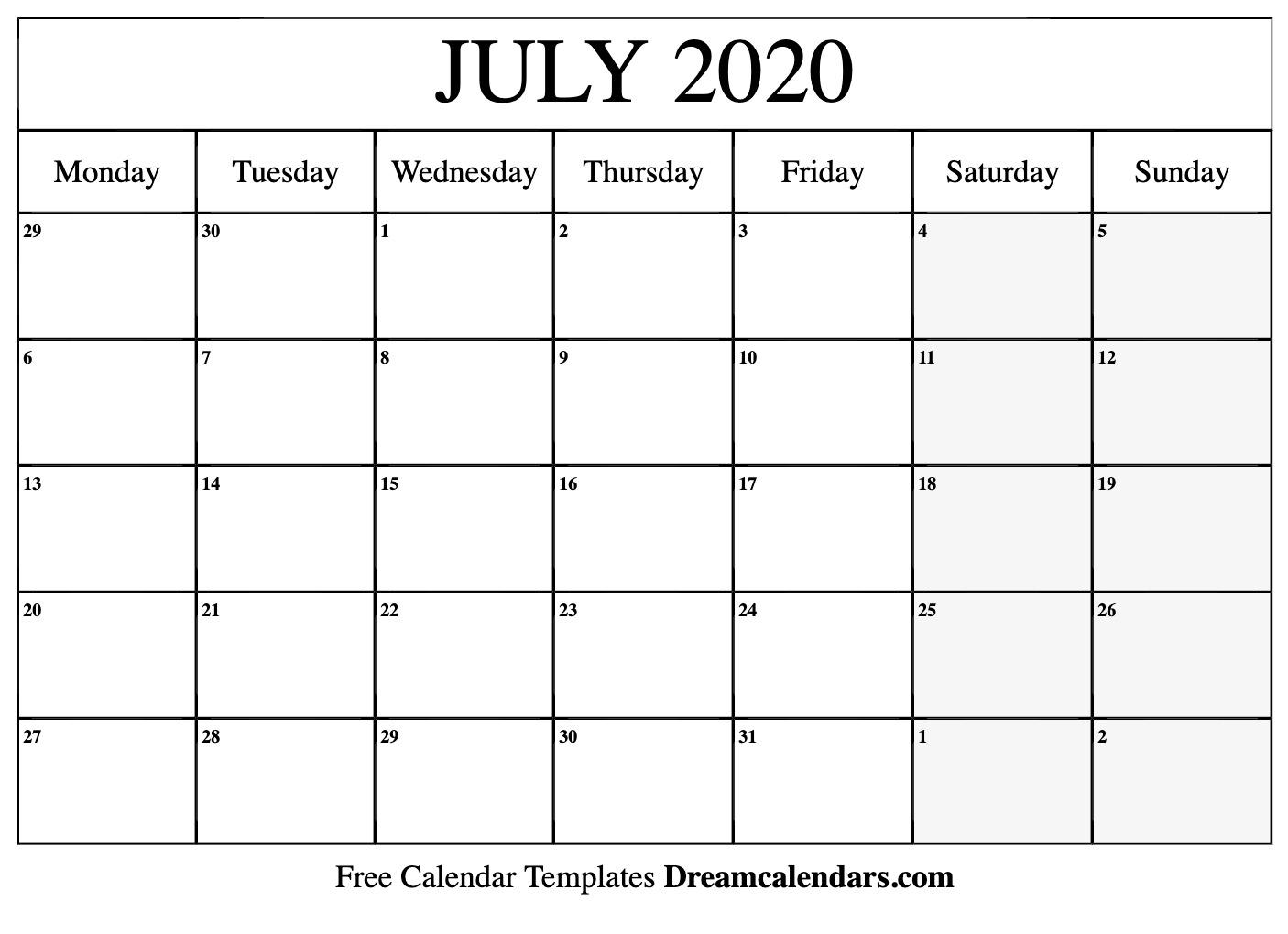 July Calendar Template 2020 - Wpa.wpart.co