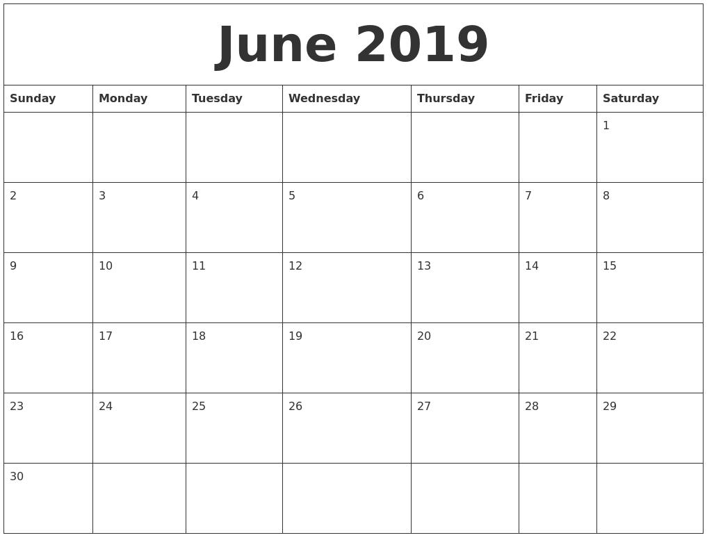 June 2019 Calender Print