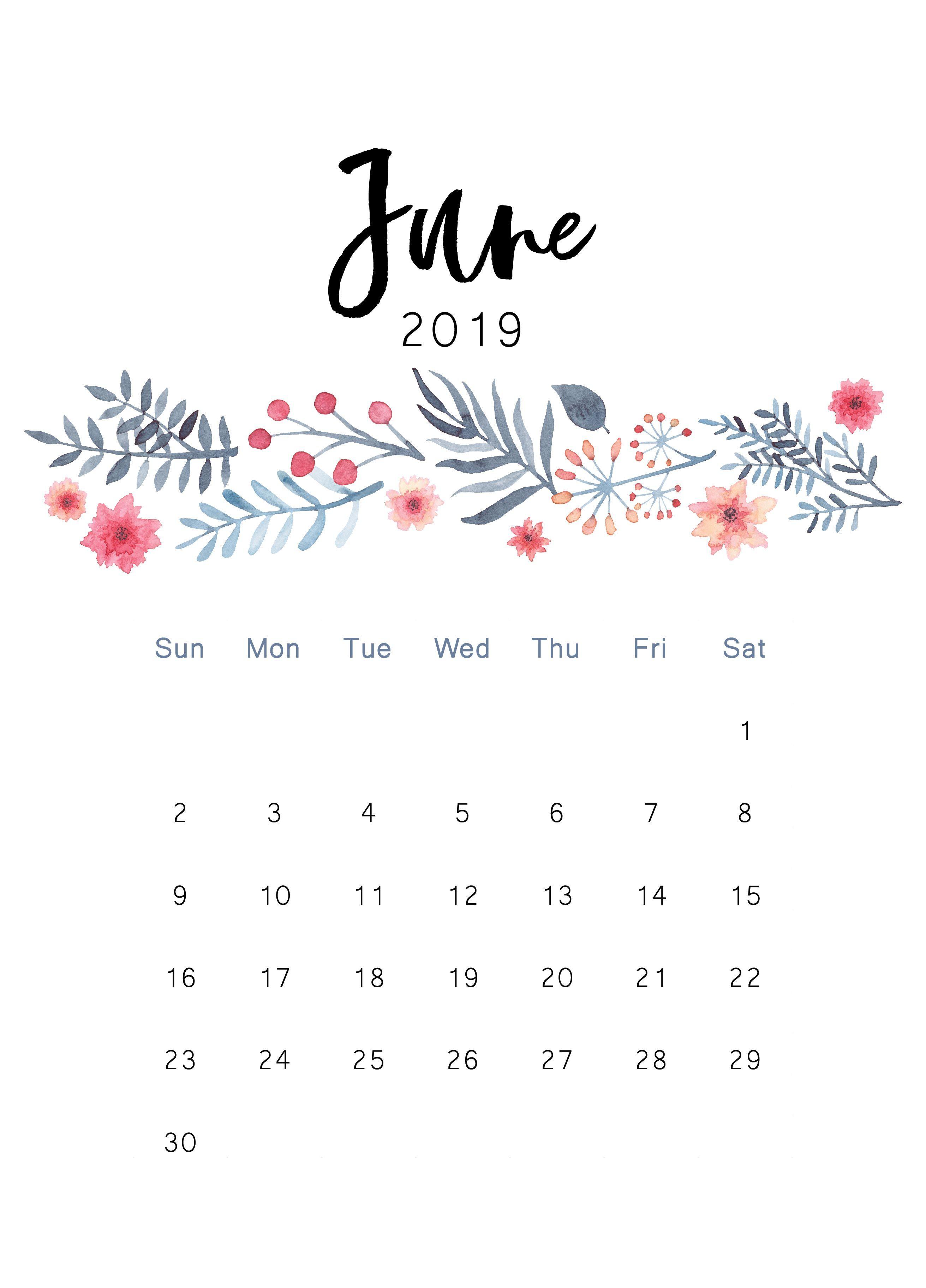 June 2019 Printable Calendar | Iphone Wallpaper | Kalender