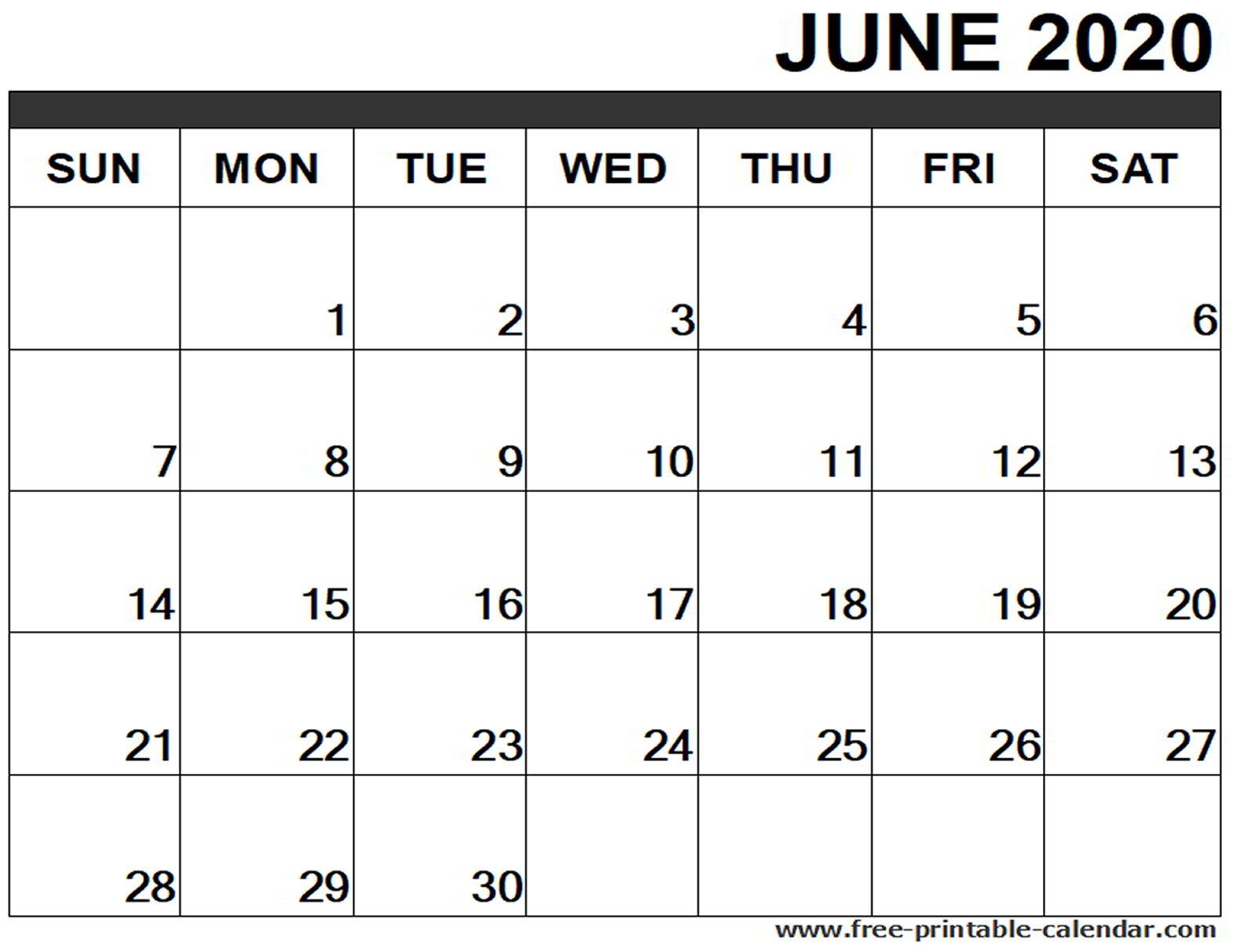 June 2020 Calendar Printable - Free-Printable-Calendar