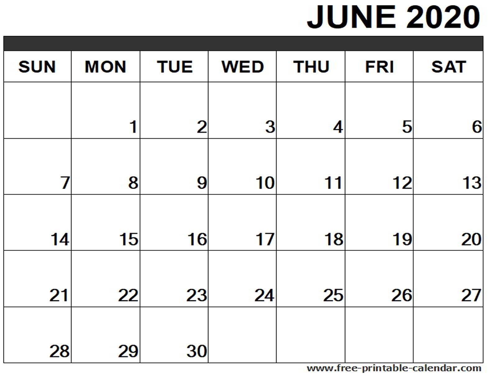 June 2020 Calendar Printable – Free-Printable-Calendar-2020