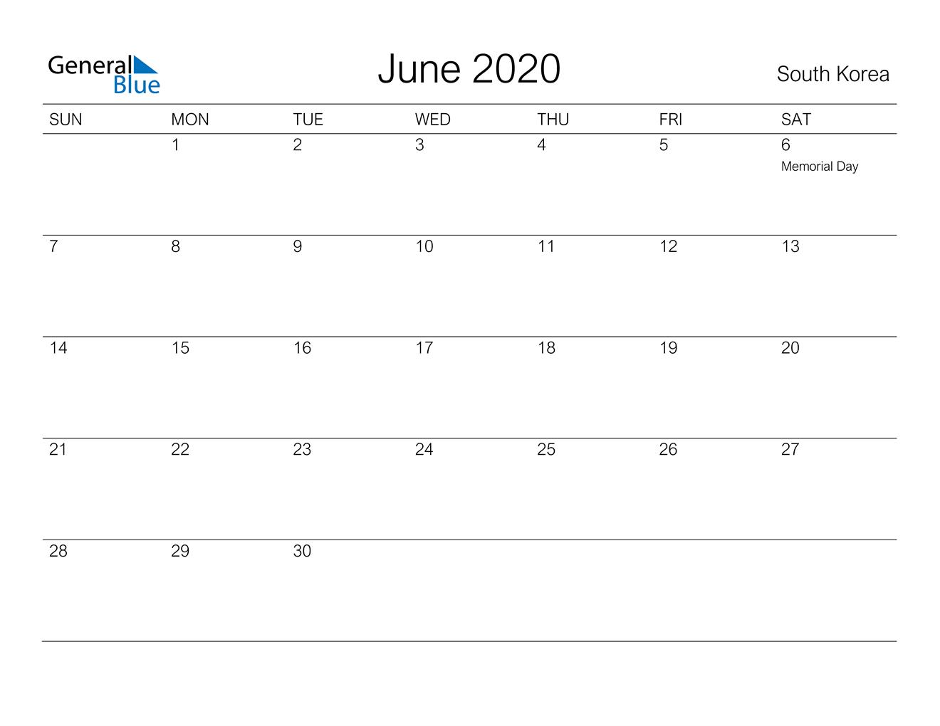 June 2020 Calendar - South Korea