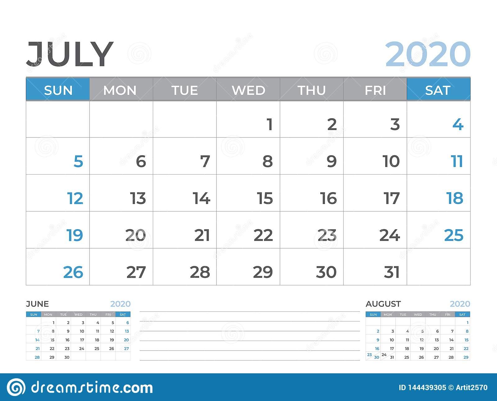 June 2020 Calendar Template, Desk Calendar Layout Size 8 X 6