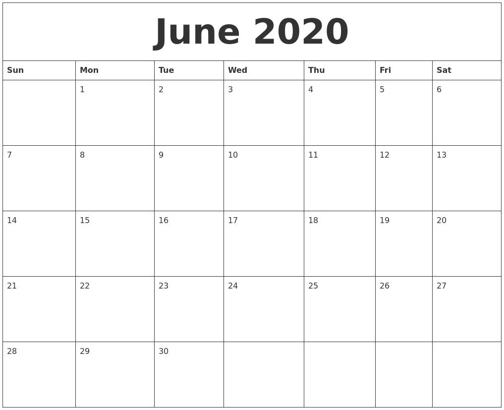 June 2020 Monthly Printable Calendar