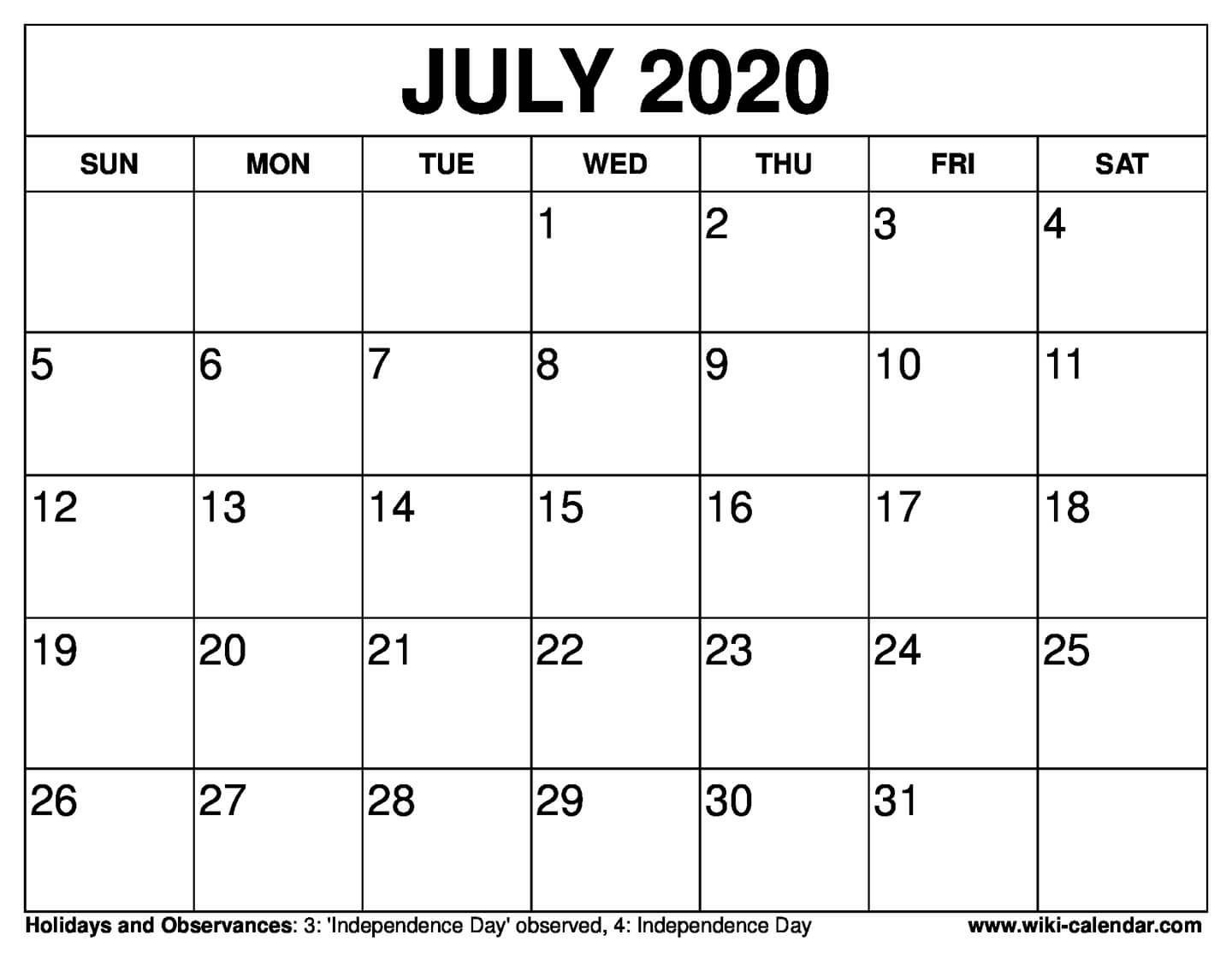 June And July 2020 Calendar - Yeter.wpart.co
