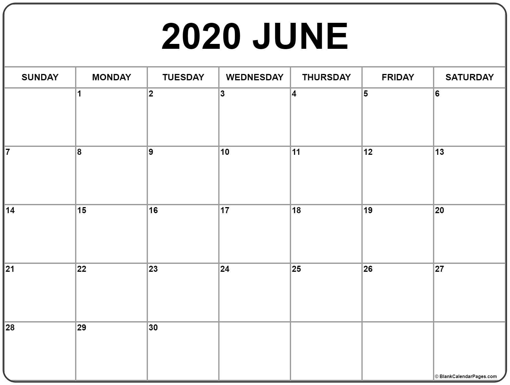 June Calendar Printable 2020 - Wpa.wpart.co