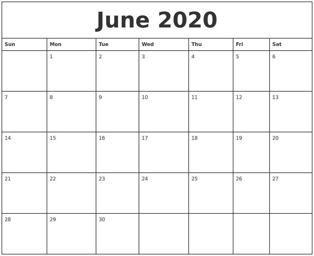 June Monthly Calendar 2020 - Wpa.wpart.co