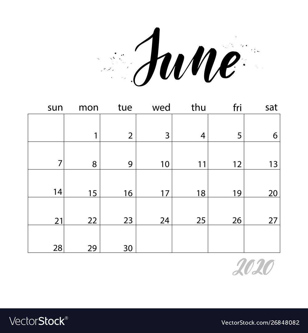 June Monthly Calendar For 2020 Year