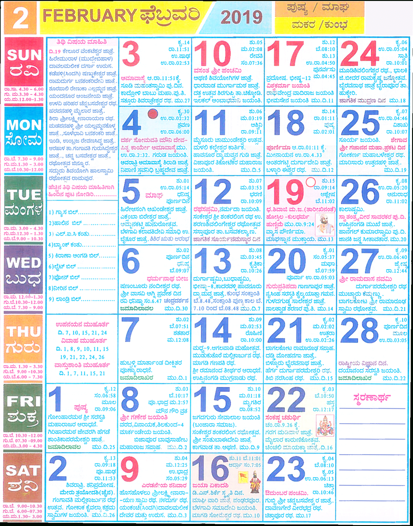 Kannada Calendar February 2019 | Year