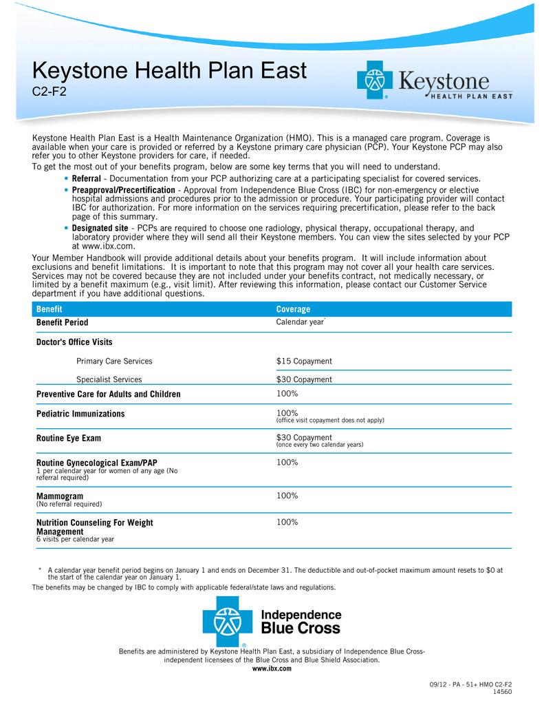 Keystone Health Plan East C2-F2