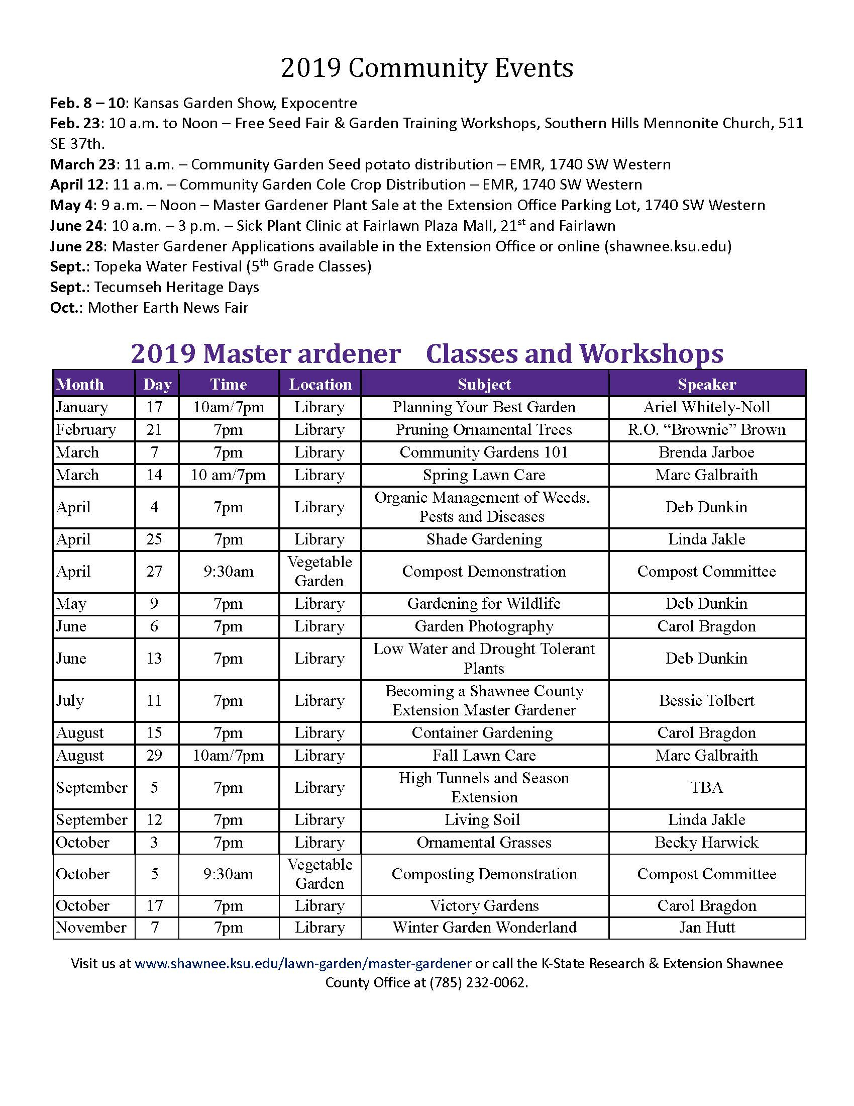 K State Calendar Spring 2020