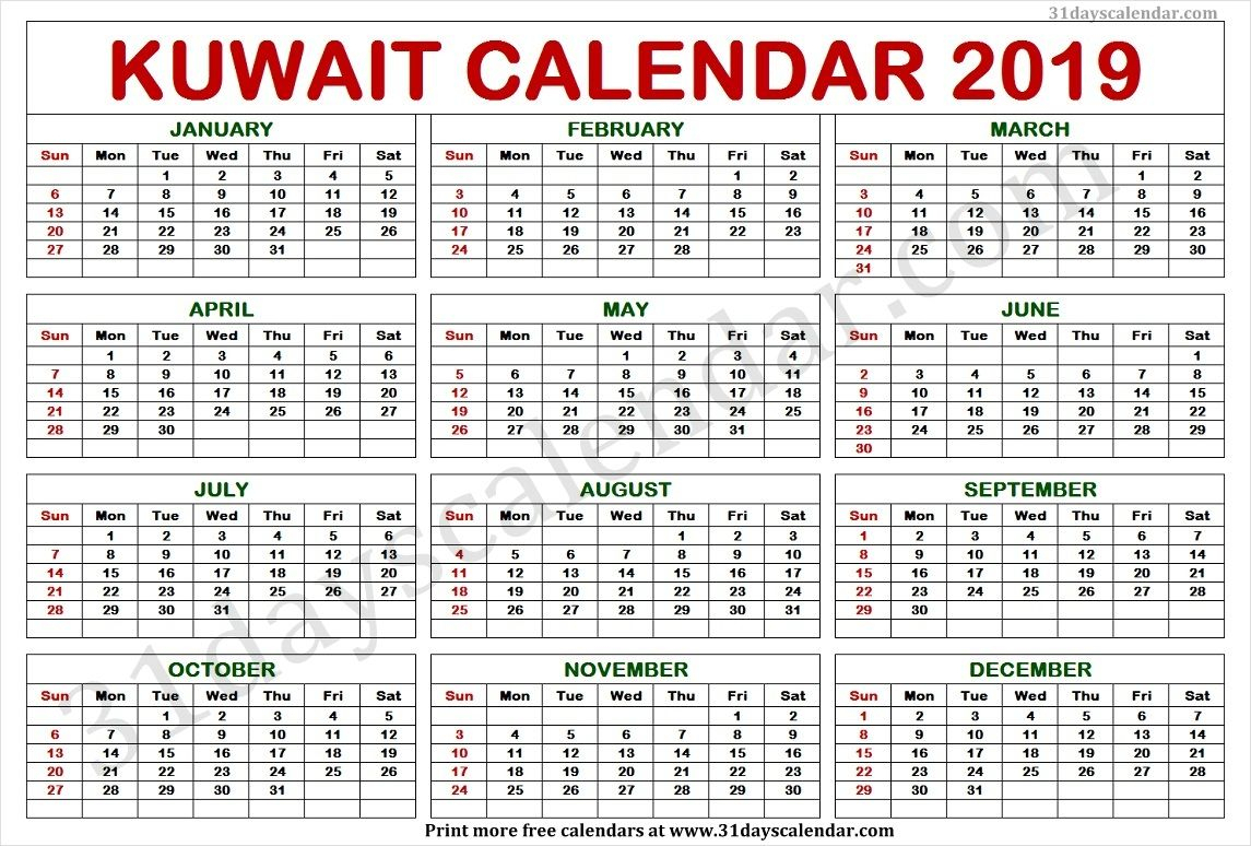 Kuwait Calendar 2019 | Calendar 2019 Template, Calendar