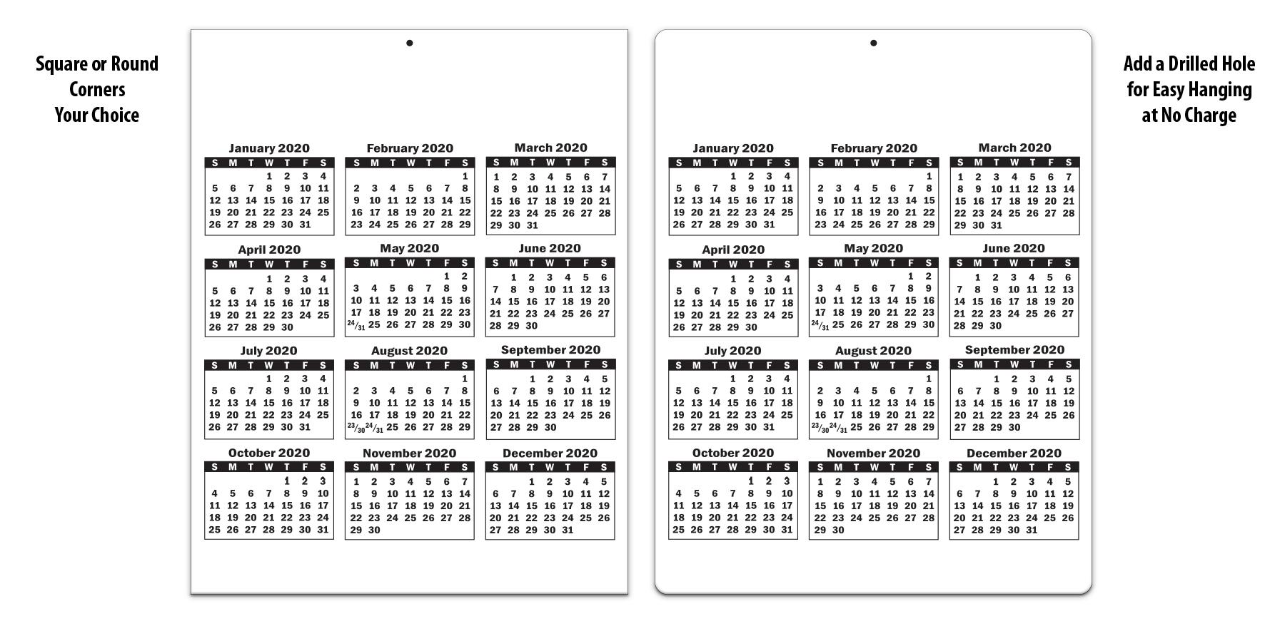 Laminated Card Calendar, 8.5 X 11 | Valuecalendars