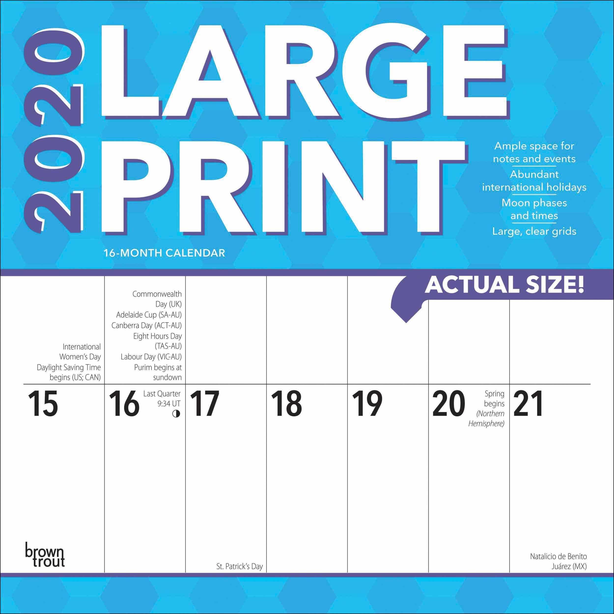 Large Print Calendar 2020