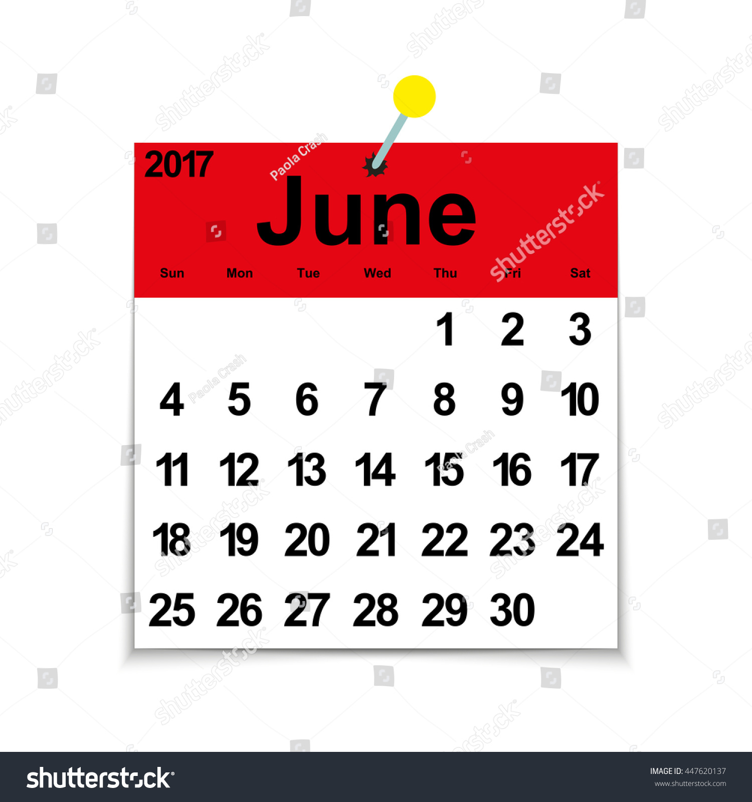 Leaf Calendar 2017 Month June Days Stock Vector (Royalty