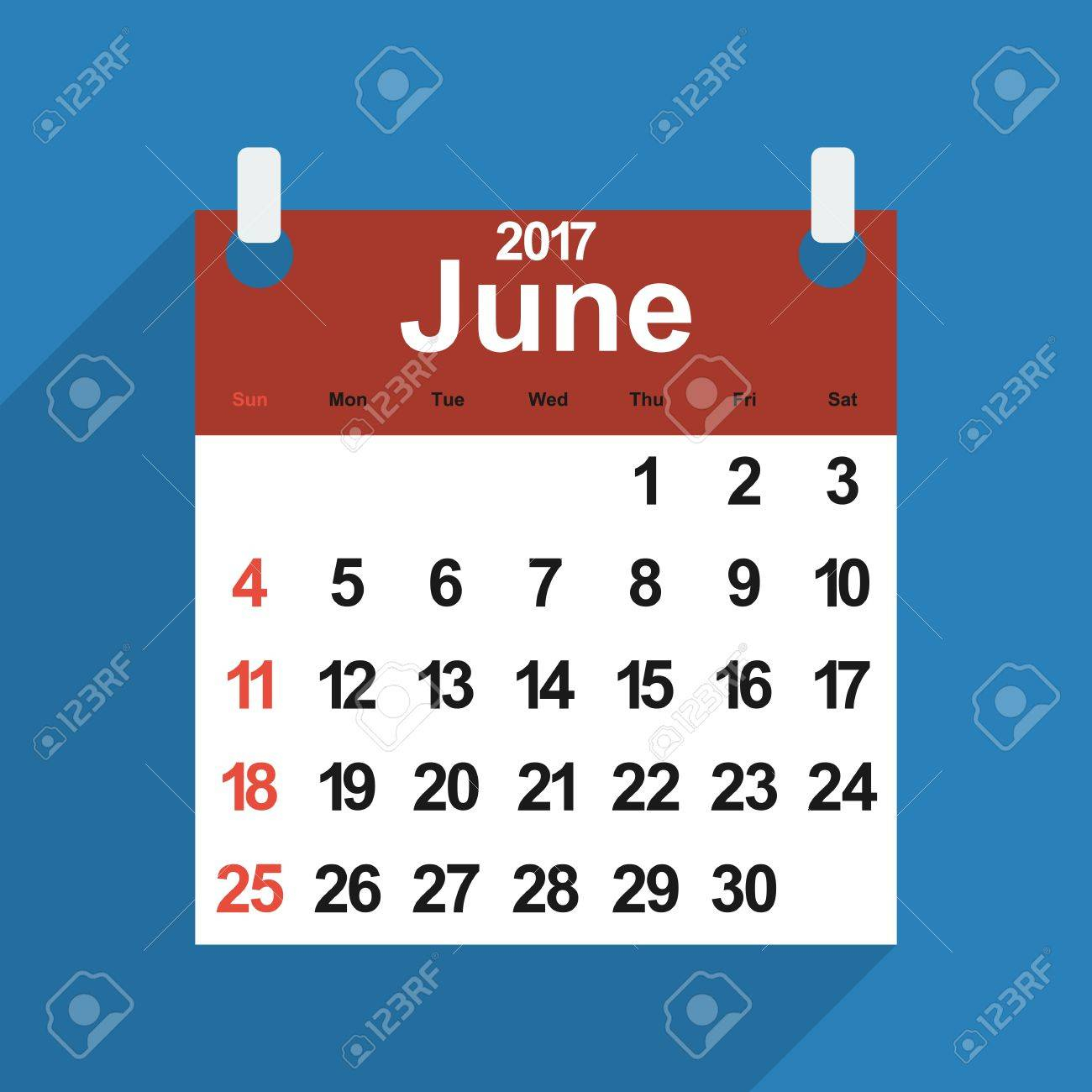 Leaf Calendar 2017 With The Month Of June Days Of The Week And Dates