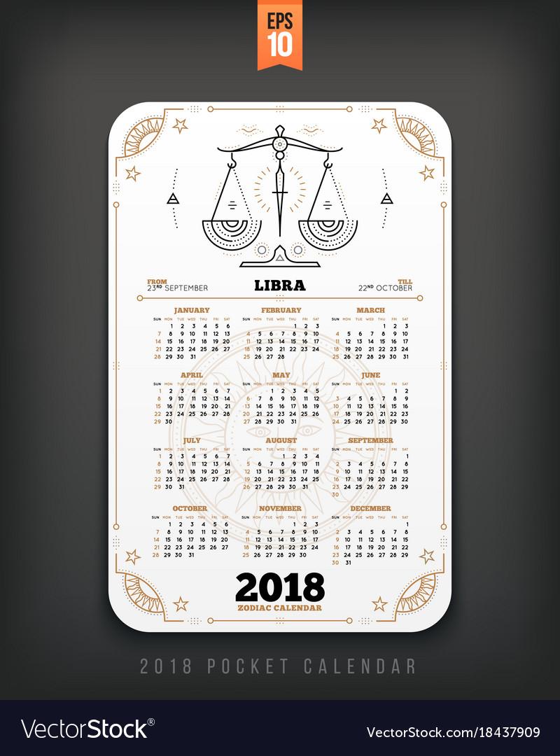 Libra 2018 Year Zodiac Calendar Pocket Size