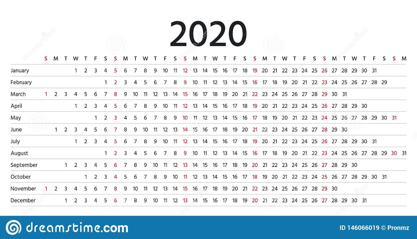 Linear Calendar 2020. Vector Illustration. Template Diary