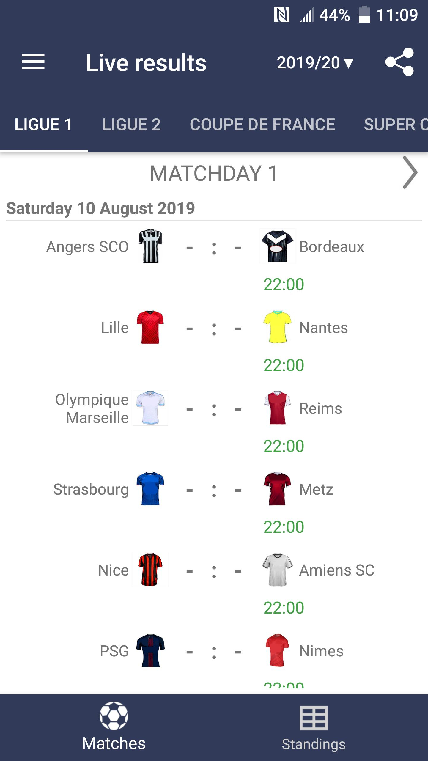 Live Scores For Ligue 1 Conforama 2019/2020 For Android