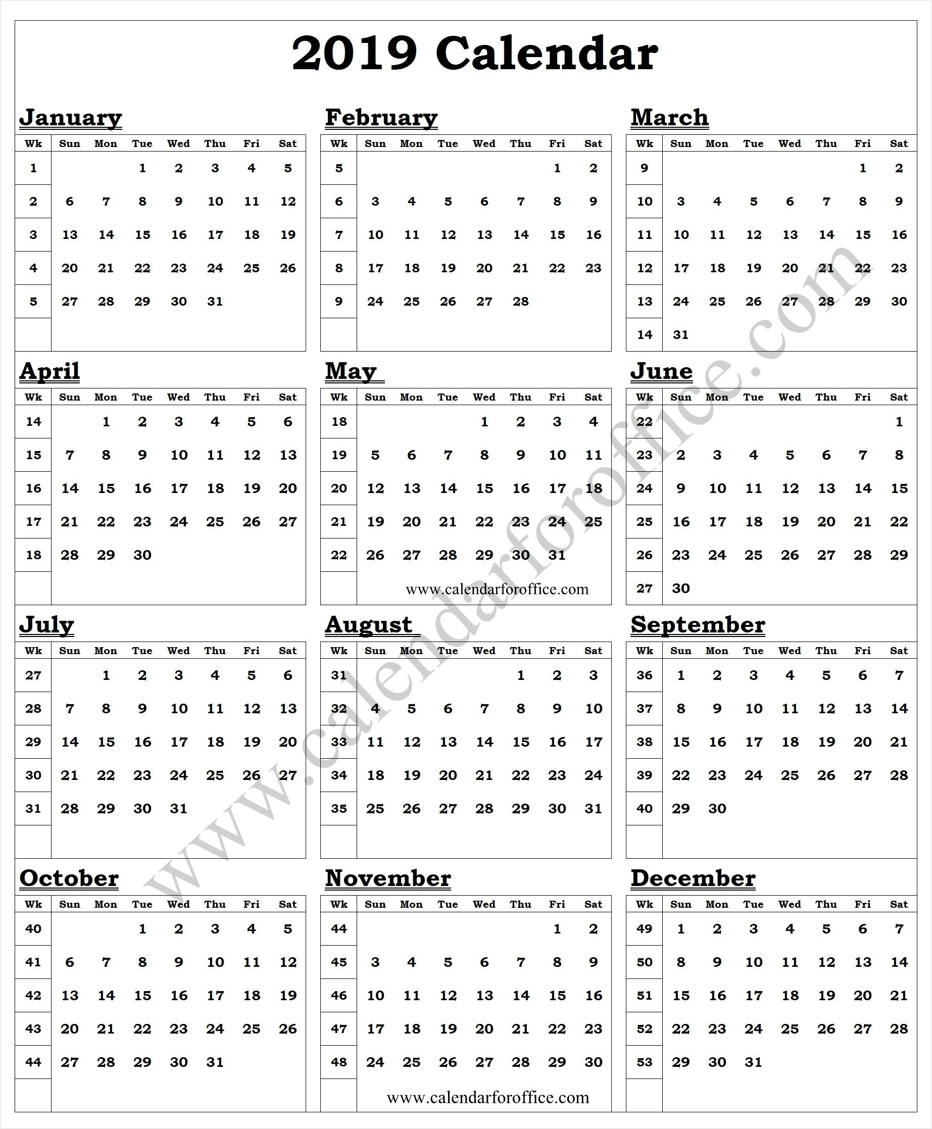 Lovely Calendar Week Of The Year 2019 : Mini Calendar Template