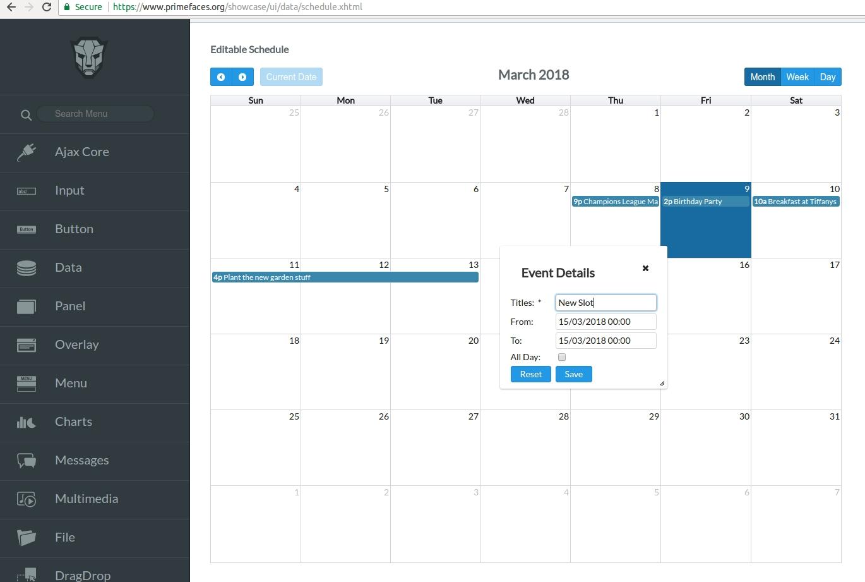 Lovely Primefaces Calendar Year 4 Digits : Mini Calendar