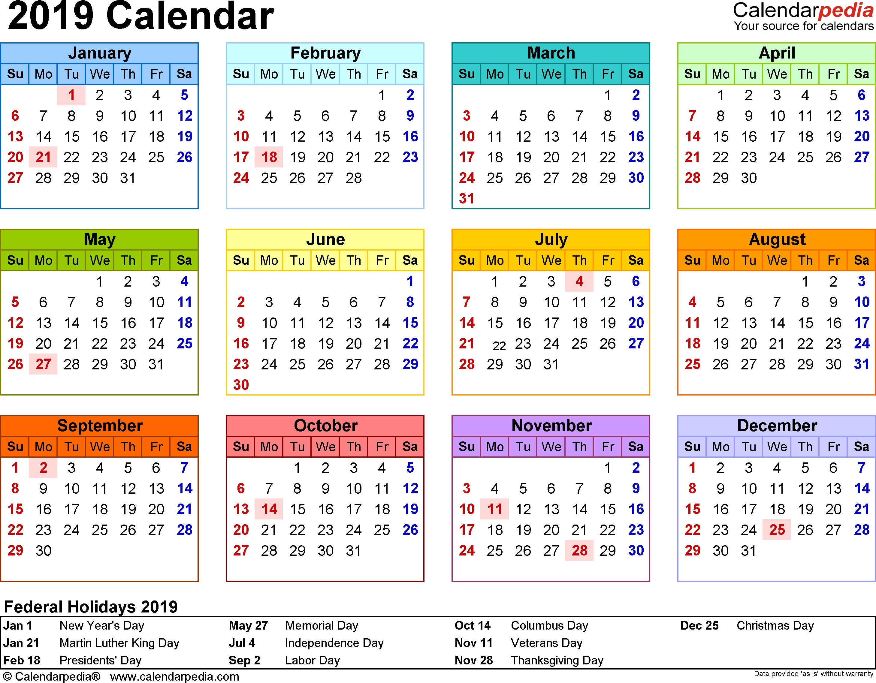 Lovely Printable Calendar For Year 2019 : Mini Calendar Template