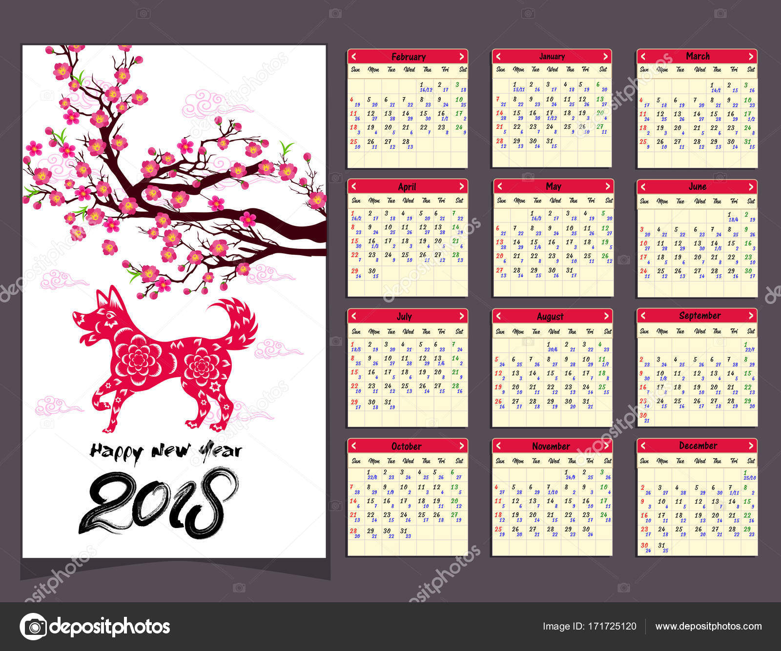 Lunar Calendar, Chinese Calendar For Happy New Year 2018