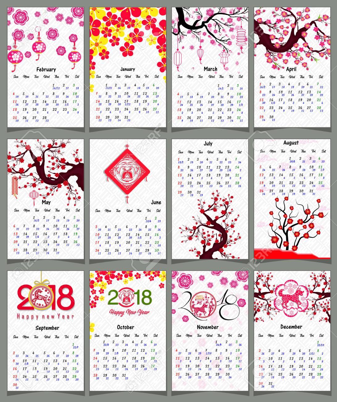 Lunar Calendar, Chinese Calendar For Happy New Year 2018 Year..