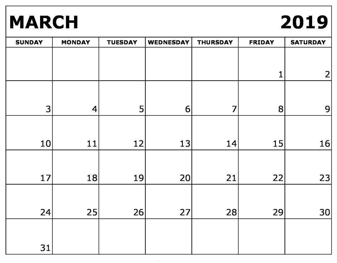 March 2019 Blank Calendar | Calendar March, Printable