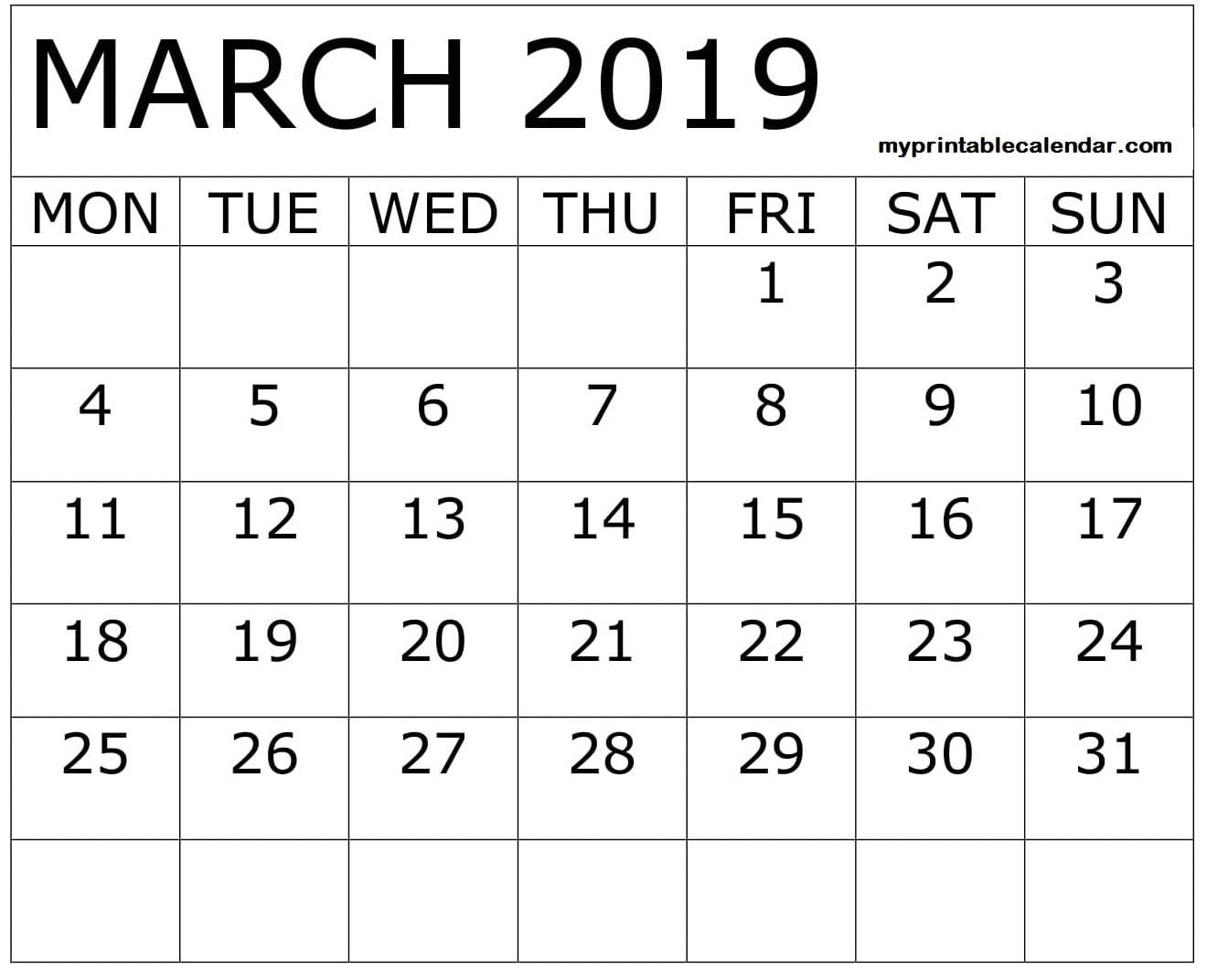 March 2019 Calendar Printable With Large Boxes | March 2019